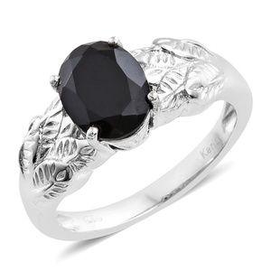 Thai Black Spinel Platinum Bond Brass Ring